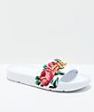 FILA Womens Drifter Rose Embroidered White Slide Sandals