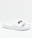 FILA Womens Drifter White, Red & Navy Slide Sandals