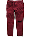 Fairplay Stellan Maroon Distressed Cropped Jeans