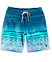 """Free World Wave Lines Blue 20""""  Board Shorts"""