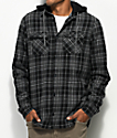 Globe Alford Black & Grey Thermal Hooded Flannel