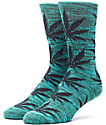 HUF Melange Plantlife Green & Black Crew Socks