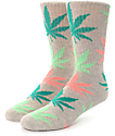 HUF Melange Plantlife Pink, Green & Grey Crew Socks