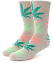 HUF Melange Plantlife Pink, Green & Grey Crew Socks