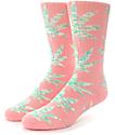 HUF Melange Plantlife Pink & Green Crew Socks