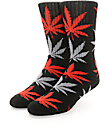 HUF Plantlife Black, Red & Grey Crew Socks