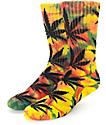 HUF Plantlife Tie Dye Rasta Rainbow Crew Socks