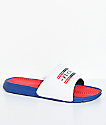 HUF Red, White & Royal Blue Slide Sandals