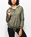Hologram Olive Lace Up Windbreaker Jacket