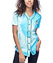 JV by Jac Vanek Pizza Alien Blue Tie Dye Baseball Jersey