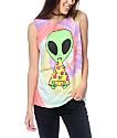 JV by Jac Vanek Pizza Nerd Alien Tie Dye Muscle Tank Top