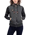 Jou Jou Cara Charcoal & Black Zip Up Hooded Jacket