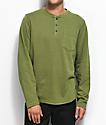 LRG Militia Henley Long Sleeve Olive T-Shirt