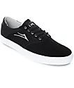 Lakai Porter Black & White Suede Skate Shoes