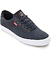Lakai x Chocolate Flaco Navy & White Canvas Skate Shoes