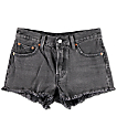 Levi's 501 Black Wash Fray Hem Shorts