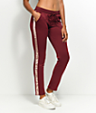 Love, Fire Burgundy & Pink Track Pants