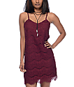Love, Fire Burgundy Lace Slip Dress