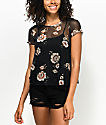 Love, Fire Lanny Black Floral Mesh T-Shirt