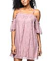 Love, Fire Lilas Mauve Lace Off Shoulder Dress
