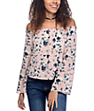 Love, Fire Susie Off The Shoulder Pink Floral Top