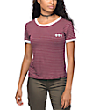 Lunachix Alien Burgundy Striped Ringer T-Shirt