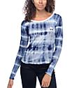 Lunachix Alien Embroidered Blue Tie Dye Long Sleeve Ringer T-Shirt