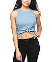Lunachix Good Vibes Blue Cropped Tank Top