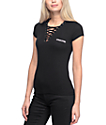 Lunachix Kara Whatever Lace Up Black Deep-V T-Shirt
