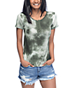 Lunachix Karina Olive Tie Dye Lace Up Top