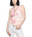 Lunachix Lara Pink Tie Dye Lace Up Tank Top