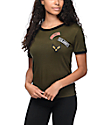 Lunachix Military Patch Olive Ringer T-Shirt