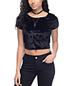 Lunachix Sasha Crushed Velvet Black Crop Top