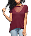 Lunachix Tomi Mesh V-Neck Burgundy Top