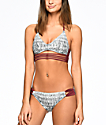 Malibu Gypsy Queen Grey & Burgundy Hipster Bikini Bottom