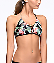 Malibu Maui Escape Black Floral Molded Bralette Bikini Top