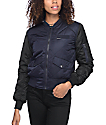 Members Only Navy & Black Quilted Bomber Jacket
