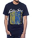 NBA Mitchell and Ness Warriors Split Logo Tailored Black T-Shirt