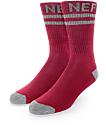 Neff Promo Burgundy & Grey Crew Sock
