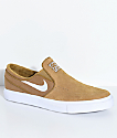 Nike SB Janoski Golden Beige & White Slip-On Skate Shoes