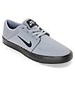 Nike SB Portmore Nubuck Grey & Black Skate Shoes