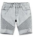 Ninth Hall Covert Grey Acid Wash Moto Shorts