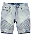 Ninth Hall Covert Light Wash Moto Shorts
