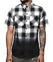 Ninth Hall Enzo White & Black Dip Dye Short Sleeve Flannel Shirt