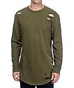Ninth Hall Patton Destructed Olive Long Sleeve Knit Shirt