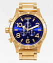 Nixon 51-30 All Gold & Blue Sunray Chronograph Watch