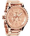 Nixon 51-30 Rose Gold Chronograph Watch