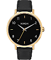Nixon Arrow Leather Gold & Black Watch