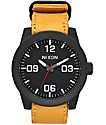 Nixon Corporal Leather Black & Goldenrod Analog Watch