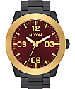 Nixon Corporal SS Matte Black, Gold, & Burgundy Watch